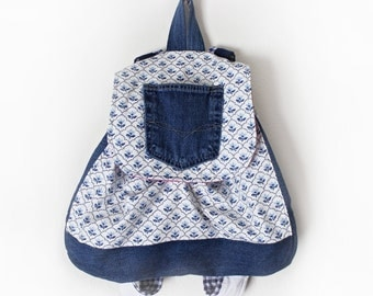 Backpack Upcycled Denim School Bag Floral Scalloped Print Cute Handmade Unique Hot Pink Inside
