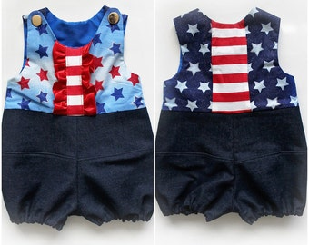 Patriotic Romper Stars and Stripes Fourth of July Upcycled Denim Toddler Shorts Jumpsuit Handmade Unique - Ready to Ship - Sz 1