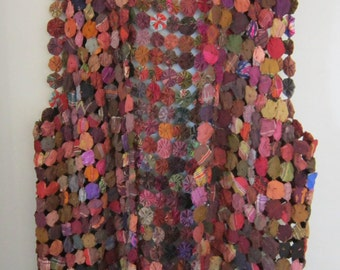 """Vintage 70s Boho waistcoat vest made of Yoyo's or Suffolk Puffs Plus size Bust/Chest 44"""""""