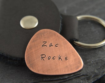 Personalized plectrum guitar pick with leather holder. Guitar gift for him. Guitar lover gift. Copper pick. Personalized plectrum for him.