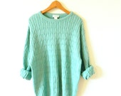 Vintage Mint Green Slouchy Sweater / Cable Knit Oversized Sweater / Vintage Unisex Pastel Knit Sweater