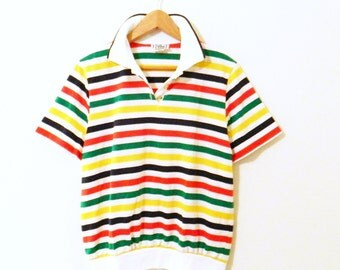 Bright Stripes Collared Vintage Tee / Retro 70's Rainbow Striped Blouse / Vintage Preppy Golf Shirt