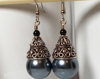 Vintage Gray Pearl With Ornate Silver Cone Dangle Earring Large Gray Pearl Earring Silver Glass Pearl Earring