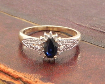 Sapphire Engagement Ring Sapphire And Diamond Ring Set In 9ct Gold .5ct Blue Sapphire Size 7.5