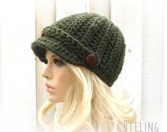 Newsboy hat Womens hats trendy Hat with brim warm winter hat crocheted newsboy cap Olive green hat knitting hat 'BEVERINA'