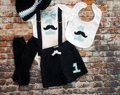 Mustache Baby Boy First Birthday Outfit - Little Man, Bow Tie Bodysuit, Leg warmers, Button Hat, Cake smash, 1st Birthday, Light Blue, Black