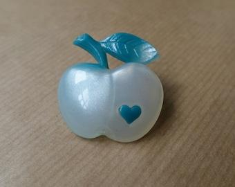 Apple Brooch Blue Plastic