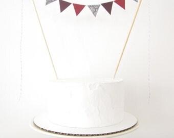 Dracula Cake Topper, Fabric Cake Bunting, Wedding, Birthday Party, Shower Decor Halloween dark plum deep wine red maroon grey silver vampire