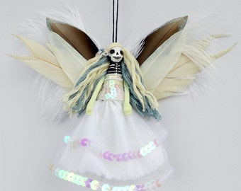 Dead Fairy Ornament, Day of the Dead doll, Ice Queen Fairy, handmade peg doll decoration,