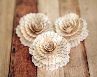 30  Pcs Book Page Paper Carnations for Weddings, Home Decorations, Scrapbooking and Floral Arrangements