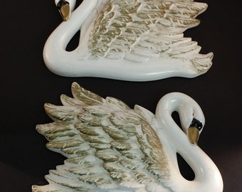 Large Pair of Vintage White and Gold Chalkware Swans -- May Be Miller Studios - 1960s Bath, Bedroom or Hall Decor, MidCentury Cottage Charm