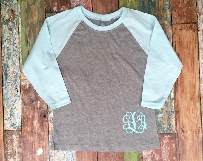 Girls Monogram Shirt, Girls Monogram Raglan Tee Shirt , Monogrammed Baseball T shirt, Monogrammed Three Quarter Sleeve, NL3352