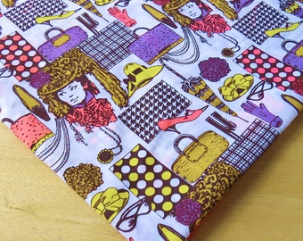 Unusual Novelty Fabric | Woman and Accessories | Purple, Yellow and Pink | 3 3/8 Yards