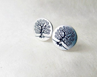 Tree of Life Earrings. Science Gifts. Charles Darwin Evolution. Norse Mythology Yggdrasil Tree. Etched Black + Silver Studded Post Earrings.