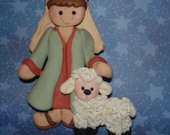 Shepherd Lamb Sheep Christmas Ornament Rancher Polymer Clay Handcrafted Milestone Robe Staff Nativity Flock  Manger Holy Family Animal