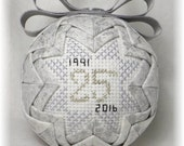 Quilted Keepsake Ornament - 25th Wedding Anniversary / Silver Anniversary