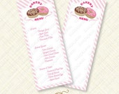 Pink Donut Party Menu Printable sign card editable text doughnut stripes bake shoppe shop instant download customize pdf breakfast sweet diy
