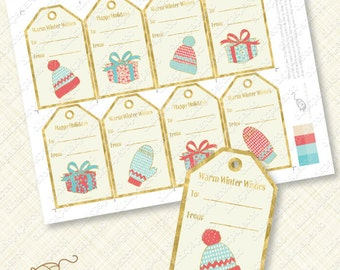 Holiday Gift Tag printable Gold Christmas tags favors gifts editable text foil effect winter instant download diy hat mitten red aqua blue