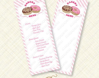 Pink Donut Party Menu Printable sign card editable text doughnut stripes bake shoppe shop instant download customize pdf breakfast sweet diy