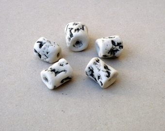 Black And White Tube Beads , Porcelain Freeform  Beads , Artisan Beads, Jewelry Supplies