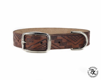Leather Dog Collar, Embossed Leather Dog Collar, Leather Pet Collar. 3/4 Inch Wide Embossed Leather Dog Collar