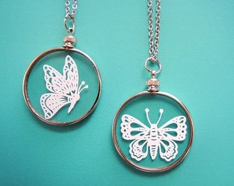 Papercut Butterfly Necklace- Original Handcut Paper in Glass Pendants with Silver Chain
