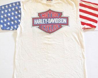 1989 Harley Davidson T-shirt, American Flag Stars and Stripes Sleeves, Rare White Vintage Harley Shirt