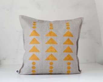 Pillows with print - natural linen throw pillow with dusty yellow print - custom size decorative pillows available - aztec design pillo