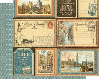 "Graphic 45 ""Cityscapes - Grand Tour"" 12 x 12 Double-sided sheet"