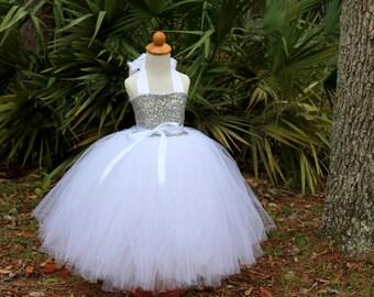 Silver Sequin Tutu Dress, Sequin Flower Girl Dress, Sequin Tutu Dress, Birthday Tutu Dress, Sequin Tutu Skirt