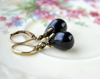 Black Earrings, Black Bead Earrings, Black Glass Earrings, Black Dangle Earrings, Black Teardrop Earrings, Black Drop Earrings UK