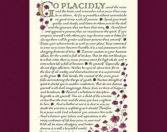 "Desiderata poem, 11x14"" Desiderata print, go placidly, Max Ehrmann, inspirational print"