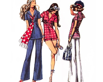 "1971 Sailor Collar Zipper Front Tunic Top, Wide Flare Bell Bottom Pants, Short Shorts, Simplicity 9372 Choose Bust 32 1/2"" or Uncut Bust 36"""