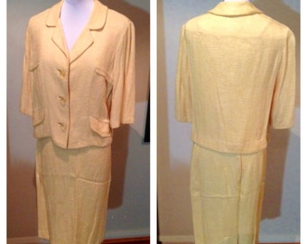 Vintage 1950s Lemon Yellow Rayon Knit Suit - L