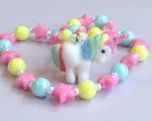 Magical Pastel Iridescent Pearl and Pink Star Stretch Necklace with Tiny Faux Pearls and Fuzzy Unicorn Charm