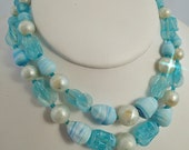 FREE Shipping Vintage Baby Pastel Blue Double Strand Beaded Necklace Glass and White Faux Pearls Made in Japan ===