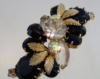 FREE Shipping Vintage Rhinestone Black And White Mourning Pin Brouch Floral Spray Leaf 1950s