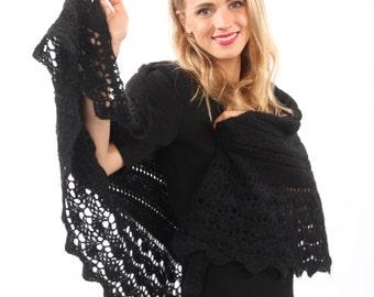 GRAY Lace shawl, gray triangular shawl, warm, large, soft hand knit