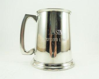 Vintage English Pewter Tankard, Made in Sheffield England, Pewter Beer Mug, Pewter Stein, Beer Tankard, English Beer Mug, Lansing Michigan