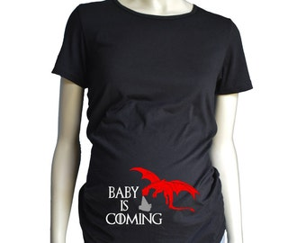 Maternity Shirt / Game of Thrones Maternity Shirt / Baby is Coming Dragon Maternity Shirt / Game of Thrones Pregnancy Shirt