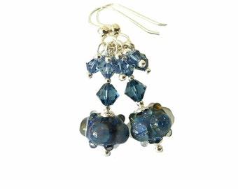 Bubble Blue lampwork bead earrings with geniune Montana blue dangling Swarovski Crystals, Sterling Silver