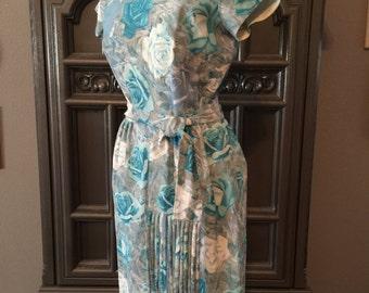 60s Blue Rose Print Summer Dress