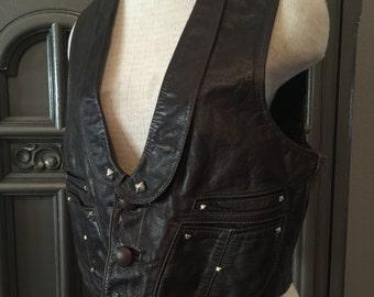 70s Espresso Brown Leather Vest
