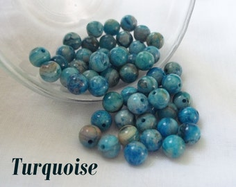 6mm Round Turquoise Beads, Gemstone, Loose Beads ~ Pack of 10