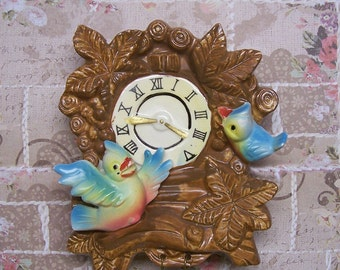 Adorable Vintage Tilso Cuckoo Clock Ceramic Wall Pocket 1962