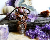 Smokey Quartz, Ruby and Amethyst Clay Necklace... Clay with Healing Gemstone and Crystal Jewelry.