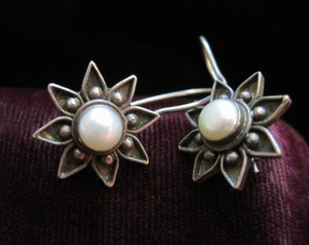 Sterling Flower Earrings 925 Silver Genuine Pearl Flowers Hook Vintage Jewelry