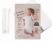 """Baby Birth Announcement: Hello World Infographic // Printable or Printed, 5x7"""""""