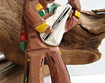 Carved Wood Guitar Man Vintage Brooch, Hand Painted Full Figure, Articulated, Movable Arm, Balladeer, Minstrel, Musician Brooch