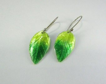 Green Leaf Earrings - fine silver leaf earrings enameled in green